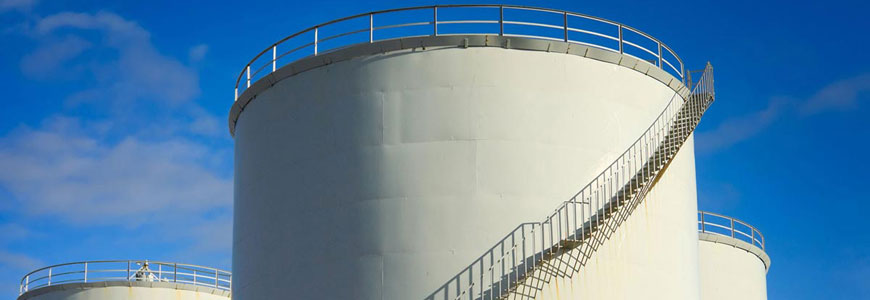 Large industrial liquid storage tank.